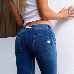 Wholesale Leggin Jeans - Wholesale- High Quality LOW WAISTED DENIM Sexy Hip Push Up Pants Jeans Women girls Leggings For Fitness Jegging Gothic Leggin Autumn winter