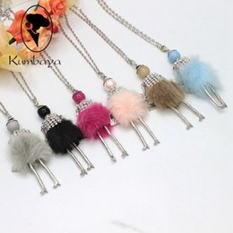 Wholesale Girls Black Fur Coat - Hot Sale! Cute Girl Fur Dress Dancing Doll Necklace Long Winter Coat Chain Necklace Girl Women Jewelry Christmas Gifts Jewelry NS417