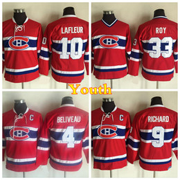 Wholesale Maurice White - Youth Montreal Canadiens Throwback 4 Jean Beliveau 9 Maurice Richard 10 Guy Lafleur Jerseys Kids Vintage CCM 33 Patrick Roy Hockey Jersey