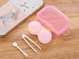 Wholesale wholesale dress boxes - 50psets lot Freeshipping 4 in 1 kits Companion box with Hanging hole contact lens box Eyeglasses Case Dressing case