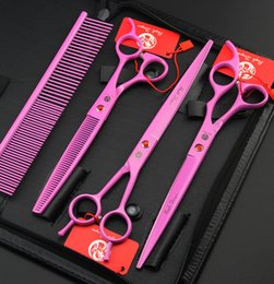Wholesale Cutting Hair Pinking Shears - Wholesale- purple dragon pink paint 8.0 inch hair scissors set pet scissors suit, professional hair hairdressing scissors pet groom shears