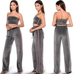 Wholesale Wide Leg Corduroys - 2017 Summer 2 piece Set Women wide leg pants set off the shoulder Crop Top+Wide Leg Pants women 2 pieces clothing set
