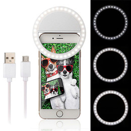 Wholesale Camera Phone Photography - Rechargeable Selfie LED Ring Flash Light Fill-flash Camera Photography For IPhone Mobile Phone 3 Mode Lighting