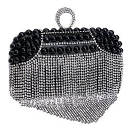 Wholesale Pearl Ring Clutches - Wholesale- Finger ring diamonds women evening bags mini day clutches tassel crystal evening bag imitation pearl lady messenger bags