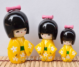 Wholesale Home Decorating Ornaments - Japanese doll puppet three piece decorated kimono doll doll ornaments puppet Home Furnishing yellow cherry