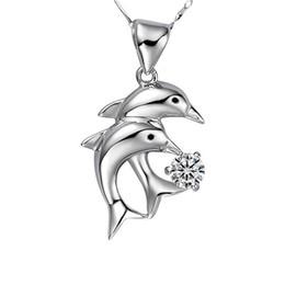Lingdong marca de moda S925 collar de plata estándar Delfín incrustaciones colgante de circón Corea incrustaciones de piedra serie mujeres colgante envío gratis desde fabricantes