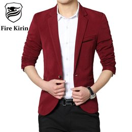 Wholesale Cheap Slim Fit Blazer Men - Wholesale- Fire Kirin Men Blazer 2017 Fashion Brand Casual Blazer For Men 4XL Slim Fit Suit Jacket Stylish Cheap Mens Blazers Designs Q50