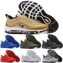 Wholesale Sneaker Trainers - Top Quality Max 97 Og Qs Silver Bullet Sneakers Cheap Maxes 97s Metallic Gold LX Swarovski Powerwall Breathable Cushion Sports Trainers