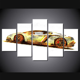 Wholesale Race Car Room Decor - 5 Pcs Set Framed HD Printed racing car Group Painting Canvas Print room decor print poster picture canvas decoration Free shipping ny-320