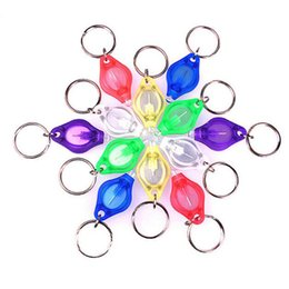 Discount micro led keychain - Outdoor EDC Tools Mini Torch Key Chain Ring White Light Bulbs Micro Light LED Keychain Flashlight 6 Color