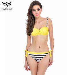 Wholesale Suits Neon Color - NAKIAEOI 2017 Sexy Bikinis Push Up Swimwear Women Brazilian Retro Hot Bandeau Top Neon String Swimsuit Bathing Suits Bikini Set