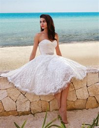 Wholesale Ivory Corset Short Dress - Chic Knee Length Lace Beach Wedding Dresses 2017 Summer Cheap Sweetheart Pleated Tulle Crystal Corset Short Bridal Gowns