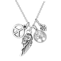 Wholesale Peace Wings Pendant - Cremation Jewelry Memorial Ash Keepsake Pendant-Rose Wing with Tree&Heart&Peace Symbol Charm Urn Necklace with Gift Bag