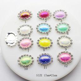 Wholesale Purple Pearl Flatback - 17X21mm 100pcs Oval Flatback Pearl Crystal Rhinestone Buttons DIY Wedding Hair Decor Embellishments