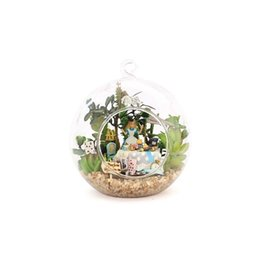 Wholesale Miniatures Diy - Beautiful Mini Alice dollhouse Miniature Glass Ball ,DIY Miniatures Wooden Doll House,Funny DIY Assembling Toys
