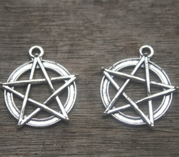 Wholesale Pentacle Charms Wholesale - 10 PCS Antique Silver Pentacle Star Circle Pendants, Pentagram Charms, Jewelry Making Findings 28x30mm