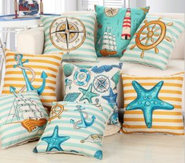 Wholesale Hotel Bedroom Accessories - Wholesale- Pillow Case Sea Anchor blue Throw Cushions Cover funda cojin 45x45cm Home- Bedroom Pillows Accessories Pillowcase Cover Art Cot