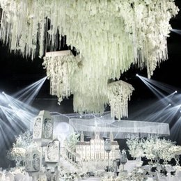 Wholesale Backdrop Lighting For Weddings - White Artificial Silk Flower Rattan Orchid Wisteria Vines 39 Inches Long For Wedding Backdrop Decoration Shooting Props Free Shipping