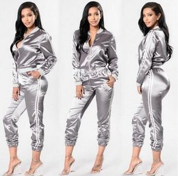 Wholesale Corduroy Tracksuit - 2 piece set 2017 NEW women tracksuits Casual Outdoor jogging suit Fashion Silver sportswear Baseball jacket coat + Striped sports pants