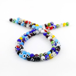 Wholesale Turkish Glasses - Round Turkish Evil Eye Tiny Mixed Color All Size Glass Beads Multicoloured Nazar Evil Eye Colourful Red Yellow Blue Purple Ojo