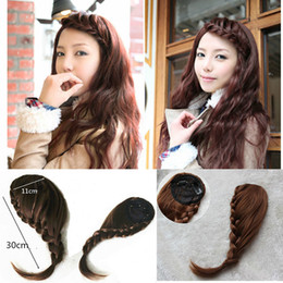 Wholesale Hair Bangs Pieces - Bohemian women's Clip In braided hair bangs Front bangs synthetic hair pieces four colors 1pc lot drop shipping