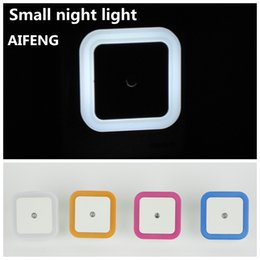 Wholesale Small Plugging Lamp - Wholesale- AIFENG Small night lamp wall lamp, 110 v 220 v 230 v US EU plug-in square intelligent electric automatic switch Blue orange