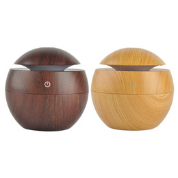 Wholesale Wooden Coolers - Wooden USB Ultrasonic Aroma Humidifier LED Light Ultrasonic Cool Mist Aromas Humidifier Air Diffusers For Home Office Portable Mist Maker