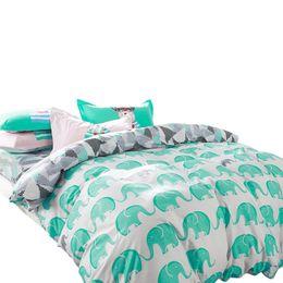 Wholesale Light Pink Comforters - Svetanya Elephant bedding sets 100% cotton 4pcs Bedlinen Twin Double Queen duvet cover+flat sheet+pillowcase