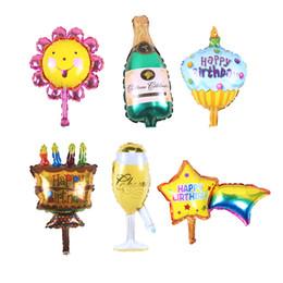 Globos en forma de estrella online-Copa de champán cerveza botella Globos girasol Papel de helio Globos Fiesta Estrella Forma Decoración Niños cumpleaños boda