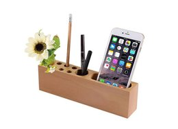 Wholesale Wood Desk Organizers - Wood Pencil Stand Holder for Desk, Business Card Holder for Desk with Wood Office Pen Holder Stand,10 Slots Desktop Organizer for Office
