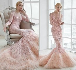 Wholesale Formal Prom Hair - New Arrival Pink Lace Mermaid Formal Evening Dresses Long Sleeve Ostrich Hair Ruffles Skirt Prom Gown Appliques Sweep Train Celebrity Gowns