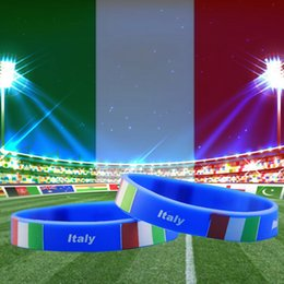 Wholesale Italian Rope Chain - Italy National Flag Design Bracelets Italian Football World Cup 100% Silicone Wristband Personalized Gym Fitness Energy Bracelets