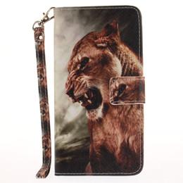 Coque iphone roi lion en Ligne-Peint Lion King motif flip stand PU étui en cuir pour iphone 5 5s 6 6 6s 6plus 6splus 7 7 plus fente pour carte portefeuille téléphone étuis