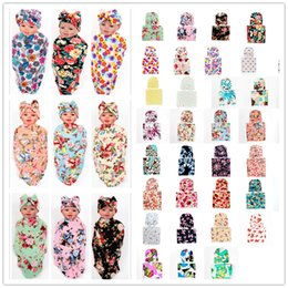 Wholesale Baby Thermal Blankets - Free DHL Newborn Baby Swaddle Blanket with Bow Hat Cap Girls Infant flower print Swaddling Robes Soft Cotton Wrap Cloth 38 Colors BHBZ03