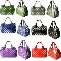 Wholesale Market Phones - Wholesale- Miss Lulu Women Girls Polka Dots Oilcloth Handbag Shoulder Tote Market Day Shopper Hand Bag 1105