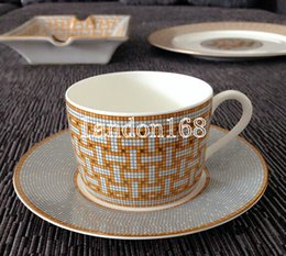 Wholesale Ceramic Coffee Cups Saucers - Fine bone china coffee cup set Porcelain coffee cup and saucer ceramic coffee set with original lable
