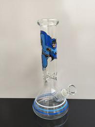 Wholesale Batman Hand - Hand drawing batman blue colorful embossment effect glass water pipe smoking bong borosilicate 7mm thickness glass hookah
