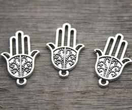 Wholesale Hand Charms Pendant - 20pcs--Antique Tibetan silver Hamsa Hand Charms Pendant, Hamsa Charms 16x25mm