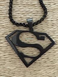 Pendentif acier superman en Ligne-Awesome Brand New Black Superman Héros en acier inoxydable pendentif charme + GRATUIT collier