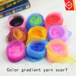 Wholesale Chiffon Small Shawl - Solid color gradient small scarf 60CM*60CM for kindergarten color gifts scarves small square Foreign trade popular scarves wholesale