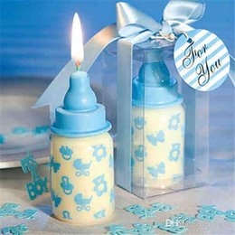 Wholesale Candle Favors Free Shipping - 60pcs Lot 4*4*8cm Baby Bottle Candle Favors baby shower wedding favors party gifts centerpieces giveaway accessories Free Shipping