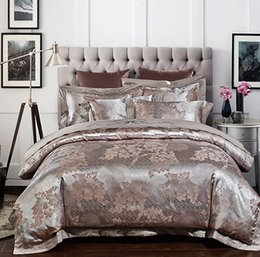 Wholesale Hand Embroidery Bedding Set - Silver Luxury wedding Bedding set Satin Jacquard bedspread Embroidery King Queen size duvet cover sheets bed in a bag linen 4PCS