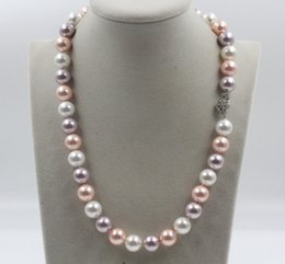 Wholesale Southsea Shell Pearl Silver - 12mm southsea white purple pink shell pearl necklace