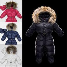 Wholesale Warm Baby Snowsuit - Winter baby Rompers snowsuit newborn warm duck down 100% Real Raccoon fur hooded M jumpsuit infant baby girls boys Bodysuits