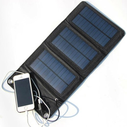Wholesale Usb Power Supply Portable - Hot! 5W Portable Solar Charger Foldable Solar Panel Charger Bag+Traveling Solar Power Supply+USB Charger For Cell Phones Free Shipping