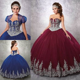 Argentina 2019 Royal Blue Beaded Ball Gown Vestidos de quinceañera Sweetheart Neck Embroidery Vestidos de baile con chaqueta Tulle Appliqued Sweet 16 Dress Suministro