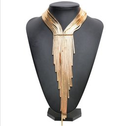Wholesale Long Statement Necklaces - Woven long tassels necklace collar choker necklace vintage Gold Chunky statement necklace women Jewelry Gifts YT