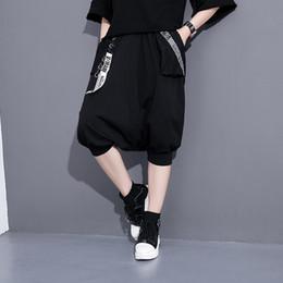 Wholesale Harem Pants Women Pattern - 2017 Summer Fashion New Pattern Panelled Mesh Letter Printing Elastic Waist Knee Length Pants Harem Pants Tide Women Y49001