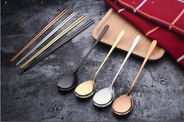Wholesale Korean Stainless Steel Chopsticks Set - Korean food grade 304 stainless steel spoon solid chopsticks long handle coffee spoon kitchen tool chopsticks spoon set gift