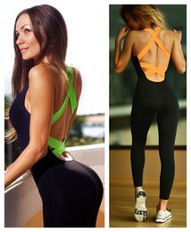 Wholesale Neon Color Cross - European fashion women's sexy fashion neon color back bandage cross hollow out sleeveless fitness sports jumpsuit skinny leggings pants